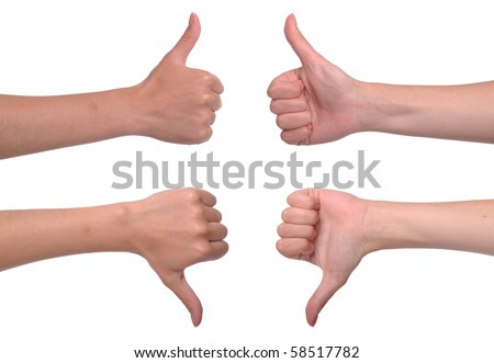 front and back woman hands showing thumbs up and down (isolated on white background) - stock photo