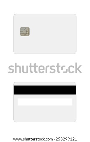 Front and backside of a blank credit or debit card with chip and magnetic strip isolated on white background