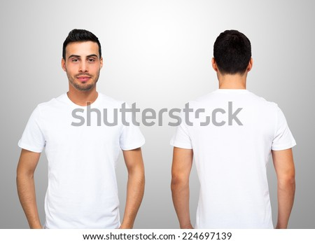 Front and rear portrait of a young man wearing a white t-shirt