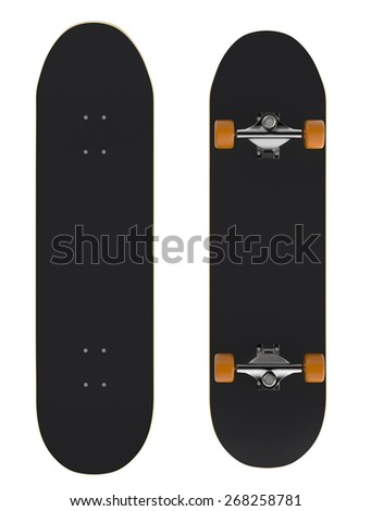 front and rear view of a skateboard on white background (3d render) - stock photo