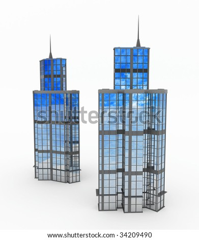 Front and side views of a modern tower building, 3d, isolated - stock photo