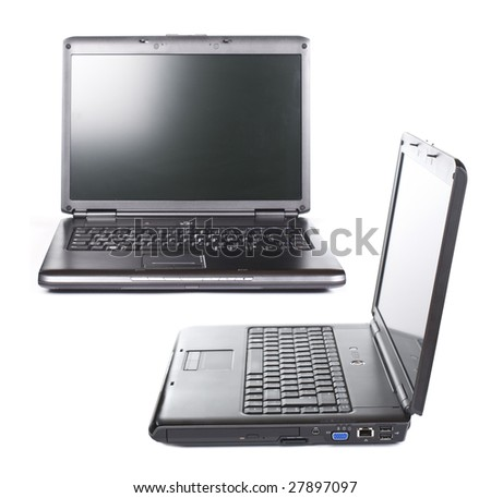 front- and sideview of modern laptop