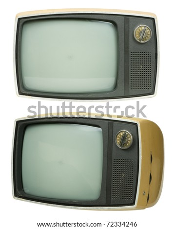 Front and tilt view of an small, old television set. Three clipping paths are also included, one of them with the screen removed so you can show something inside.