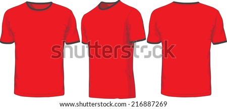 Front, back and side views of t-shirt. Raster version - stock photo