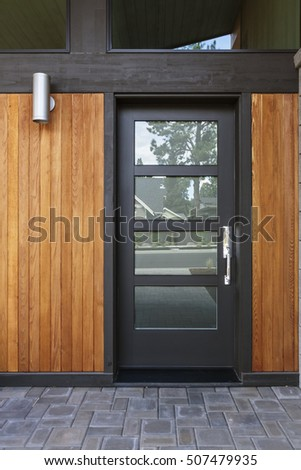 Front black door that is closed