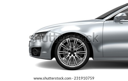 Front car Fender details isolated on white - stock photo