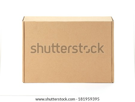 Front cardboard box, isolated on white. - stock photo