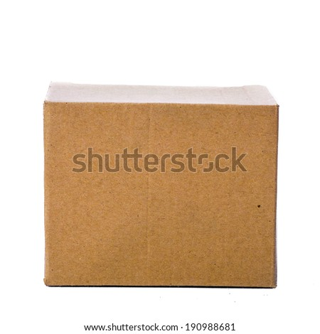 Front cardboard box, isolated on white - stock photo