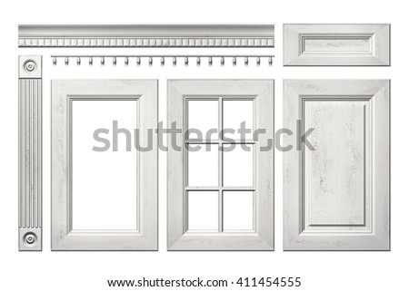 Front collection of old wooden door, drawer, column, cornice for kitchen cabinet isolated on white. 3D rendering - stock photo