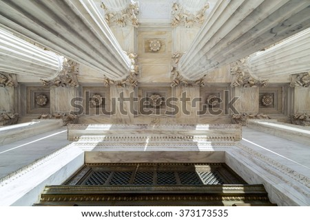 Front Columns of the  Supreme Court of U.S. - stock photo