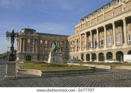 Front courtyard of the Buda castle in Budapest Hungary - stock photo
