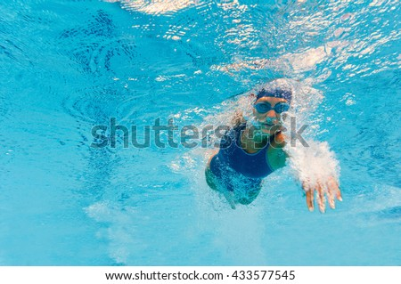 Front crawl swimmer breaking the surface, convenient copy space - stock photo