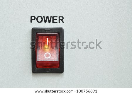 front device panel with detailed red power switch button