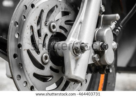 Front disc brake on car, motorcycle