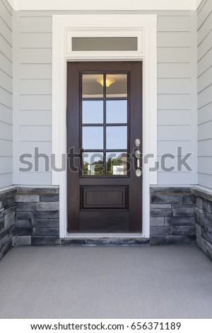 Front door casting a reflection