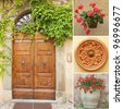front door collage,Tuscany, Italy - stock photo