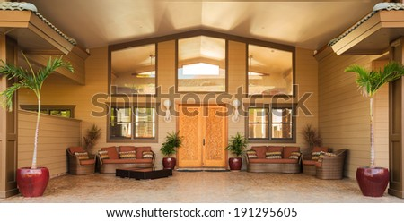 Front Door Entrance to Luxury Home - stock photo