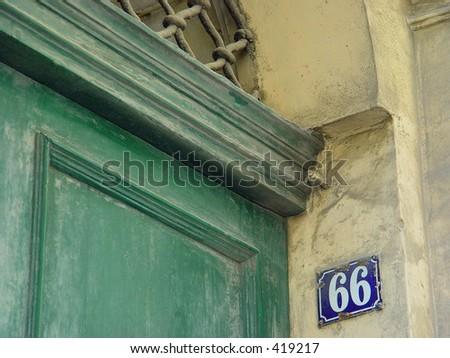 front door in Malta, number sixty-six - stock photo