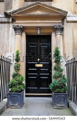 Front Door in the Georgian Era Architectural Style - stock photo