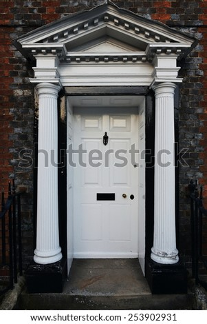 Front Door of a Beautiful Georgian Era English Town House - stock photo