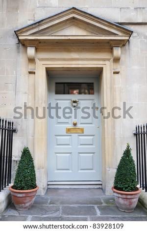 Front Door of a Beautiful Georgian Era English Town House - stock photo
