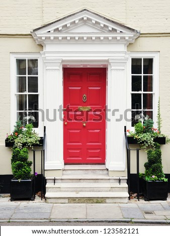 Front Door of a Beautiful Georgian Era Town House in Salisbury England - stock photo
