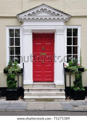 Front Door Of A Beautiful Georgian Era Town House In Salisbury England