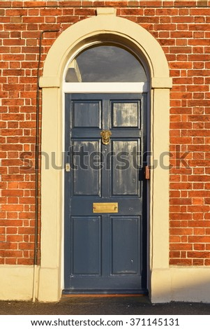 Front Door of a Beautiful London Town House - stock photo