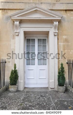 Front Door of a Georgian Era English Town House - stock photo