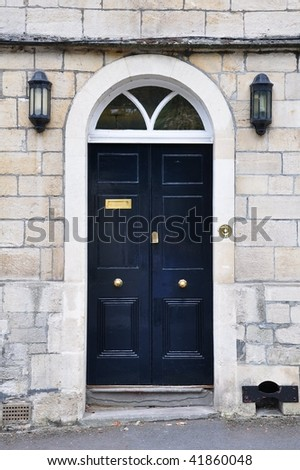 Front Door of a London Town House - stock photo