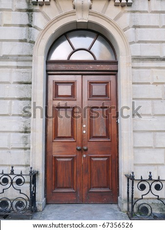 Front Door of a Traditional English Town House of the Georgian Era - stock photo