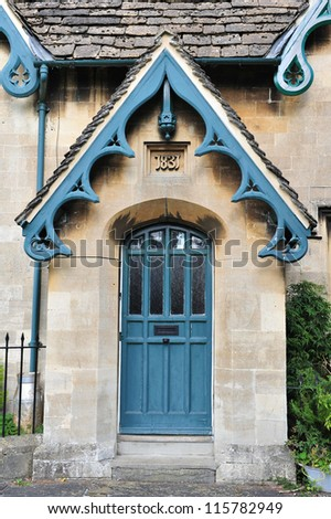 Front Door of a Victorian Era English Cottage - stock photo