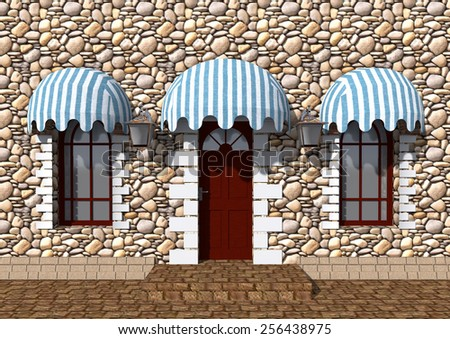 Front door of an old building and the windows under canopies of textiles at day. - stock photo
