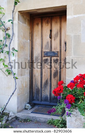 Front Door of an Old English Cottage - stock photo