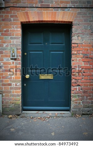 Front Door of an Old London House - stock photo