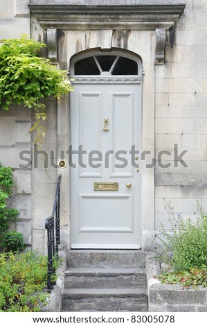 Front Door of an Old London Town House - stock photo