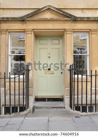 Front Door of an Upscale Geogian Home - stock photo