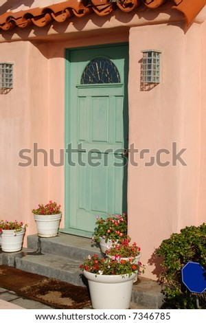 Front door of beach-front vacation property; Mission Beach; San Diego, California - stock photo