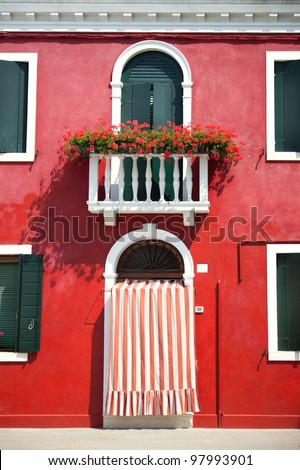 Front door of Home / Old European House / Italy - stock photo