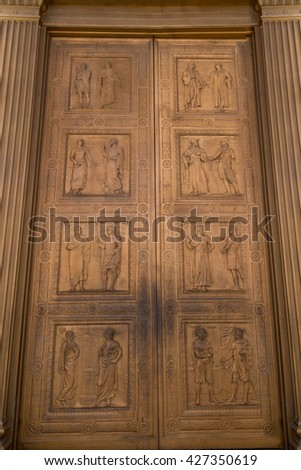 Front door of the Supreme Court building in Washington DC - stock photo