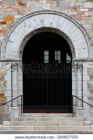 Front Door of Village Congregational Church in Massachusetts - stock photo