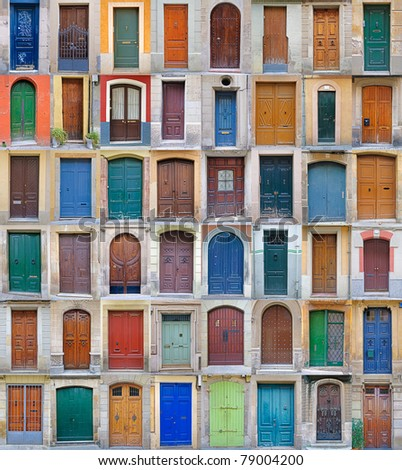 Front doors, Barcelona, Spain Collection of colorful front doors found in Barcelona, Spain (equally sized => 600x896) - stock photo