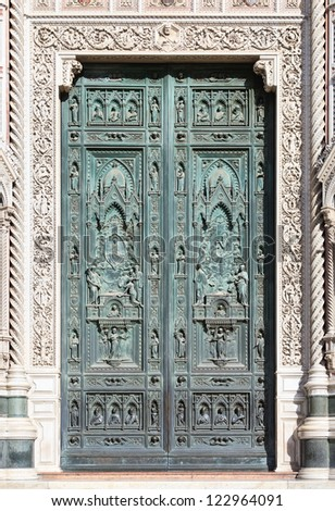 Front doors of Cathedral of Santa Maria del Fiore, Florence (Italy). A smaller version of image assembled from multiple frames - stock photo