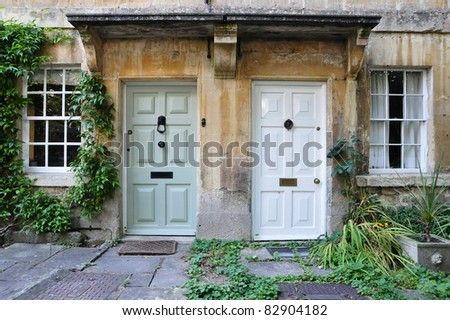 Front Doors of Neighbouring London Town Houses - stock photo