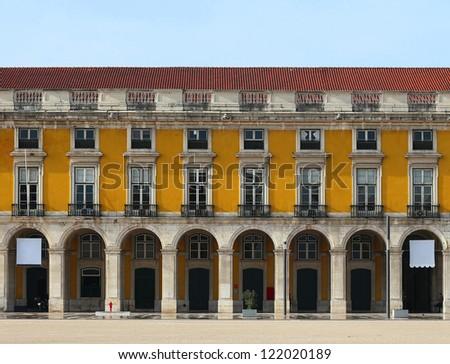 """Front elevation, facade detail at """"Praca do Comercio"""", Lisbon-Portugal - stock photo"""