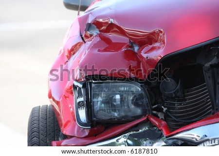 Front end of a vehicle after a car accident