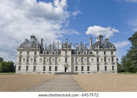 Front entrance of chateau (castle) Cheverny, Loire Valley, France. - stock photo
