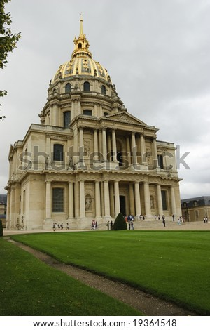 Front entrance of Dome Church in Paris, final resting place of Napoleon Bonaparte, including grassy fields