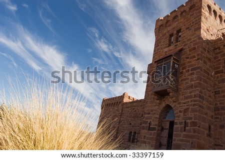 front entrance of duwisib castle - stock photo