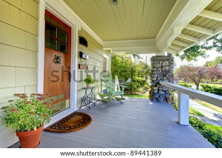 Front entrance of the old craftsman style home. - stock photo